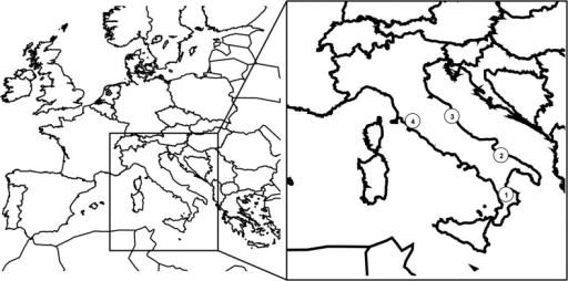 Location of four populations: Cassano (1), Corato (2), Acquarola (3) and Lucignano (4) of I. tuberosa in central-southern Italy.
