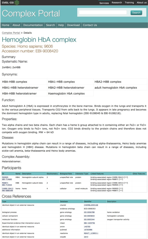Screenshot of the details page of the human haemoglobin HbA complex (EBI-9008420). The Cross References table has been shortened to fit in the figure. Clicking on the hyperlinks will open the details directly in the external database.
