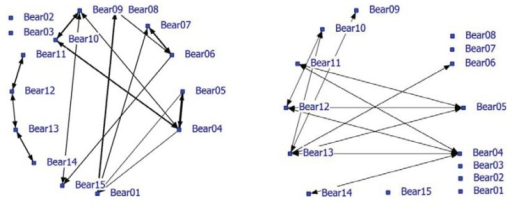 Social network of bears in a large bear enclosures (LBE) using a nearest neighbor distance (NND) smaller than 5 meter (positive network in left graph and negative network in right graph).