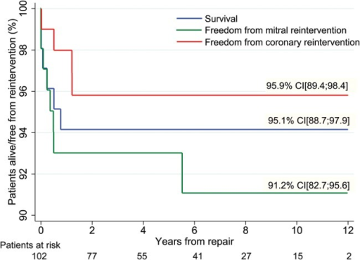 Long-term results estimates for patients with anomalous origin of coronary artery from the pulmonary artery, showing survival, freedom from coronary and mitral valve reintervention plots. Values shown are 10-year estimates, obtained using the Kaplan-Meier method. Vertical axis does not start at 0. Patients at risk are similar for all three survival functions.