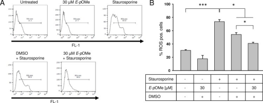 Total ROS detection by flow cytometric analysis.RAW264.7 cells were pretreated with E-α-p-OMe-C6H4-TMC (short: E-pOMe) for 3 h, ROS production was induced using staurosporine (1 μM for 2 h); A. Representative experiment after intracellular ROS staining. 1 × 104 cells were analyzed in each experiment; B. E-α-p-OMe-C6H4-TMC mediated effect on intracellular ROS production (n = 6; mean ± S.E.M.; * = p < 0.05).
