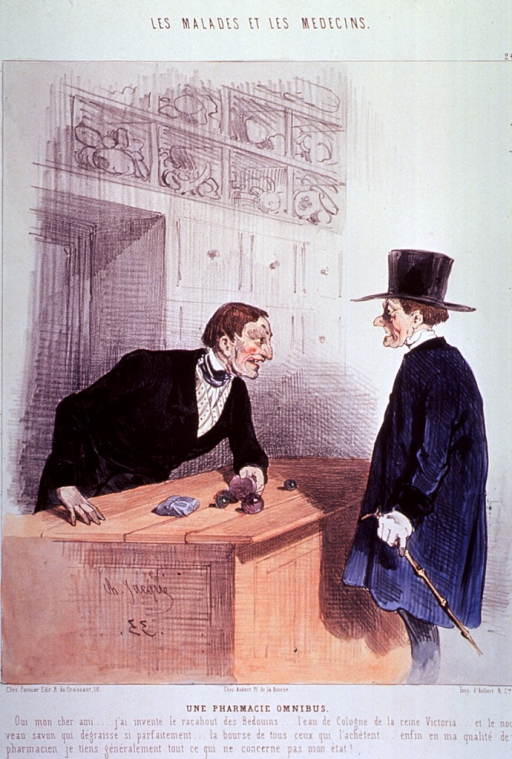 <p>A pharmacist, leaning on a counter, boasts of his accomplishments (the medicines he has developed) to a patron standing at the counter with an amazed look on his face.</p>