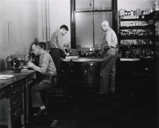 <p>Interior view: a room with shelves of equipment and/or specimens, work tables, a desk, and microscopes; one man sits at a desk looking into a microscope, a second man is placing something inside a cage, a third man stands looking on.</p>