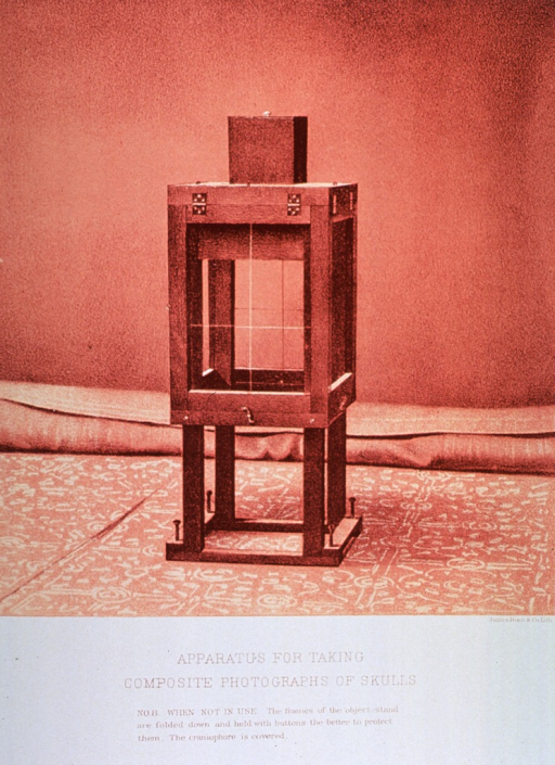 <p>Black and white print of the apparatus used for photography. This is print no. 8 that appears in &quot;On composite photography as applied to craniology; on measuring the cubic capacity of skulls, memoirs of the National Academy of Sciences; volume 3, 14th memoir&quot; by J.S. Billings and Washington Matthews.</p>
