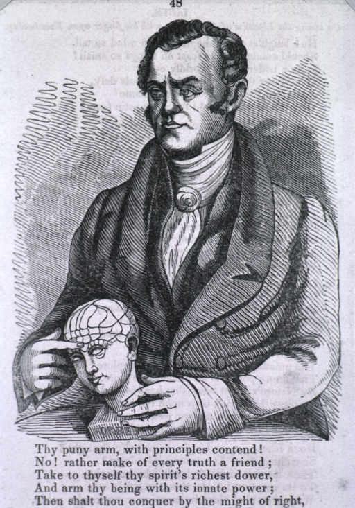 <p>Half-length, left pose; holding model of head and pointing to cranium.</p>