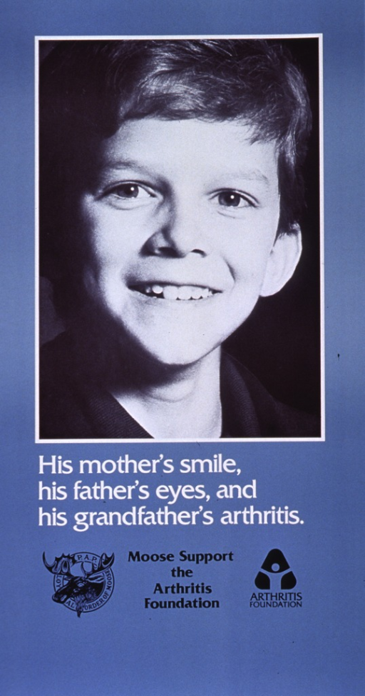 <p>Light steel blue poster with white and black lettering.  Visual image in upper portion of poster.  Image is a reproduction of a b&amp;w photo featuring a smiling boy.  Title below image.  Logo for sponsor, note, and publisher logo below title.</p>
