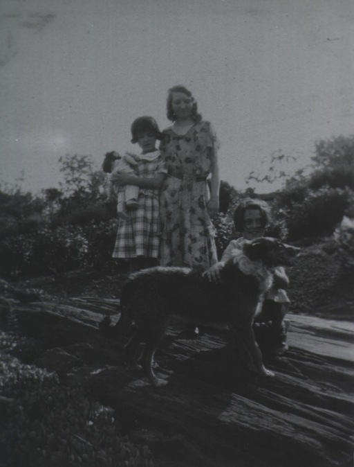 <p>View showing three of the Thomas children and a dog.</p>