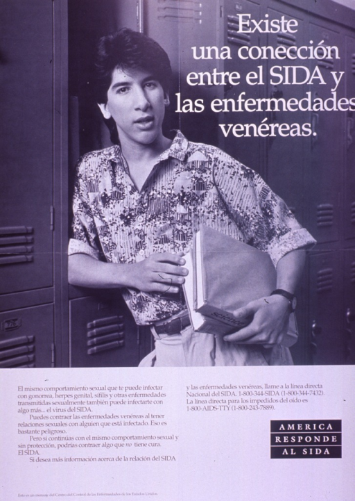 <p>Black and white poster.  Title in upper right corner.  Visual image is a b&amp;w photo reproduction featuring a young man leaning against a locker and holding two textbooks.  Caption below photo indicates that the sexual behavior that leads to contracting a sexually transmitted disease can also lead to contracting AIDS, especially unprotected sex.  Note in lower right corner.  Publisher information at bottom of poster.</p>
