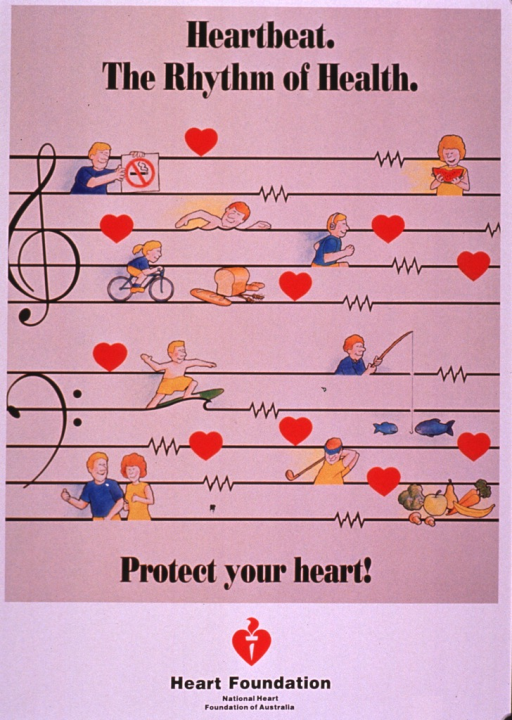 <p>Predominantly white poster with black lettering.  Title at top of poster.  Visual image is a color illustration of a musical staff.  Instead of notes on the staff, there are drawings of symbolic hearts and people swimming, reading, bicycling, running, surfing, fishing, walking, and golfing.  One man holds a no smoking sign.  There are also drawings of fruits and vegetables and bread and grains.  Caption below illustration.  Publisher information at bottom of poster.</p>