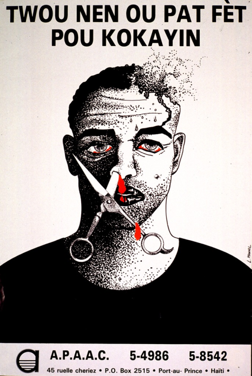 <p>Predominantly white poster with black lettering and red highlights.  Title at top of poster addresses cocaine use.  Visual image is an illustration of a man with bloodshot eyes and part of a pair of scissors stuck in a nostril.  Blood drips from his nose and the scissors handle.  Part of his skull is also missing.  Publisher information at bottom of poster.</p>