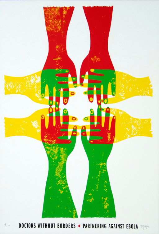 <p>Four sets of hands overlap from each side of the poster-- left, right, up and down.  The hands are a multicolor combination of red, green, and yellow.  7th edition of 10 posters, numbered and signed by the artist.</p>
