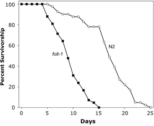 The survivorship of folt-1 knockout mutant worms compared to that of N2 worms.