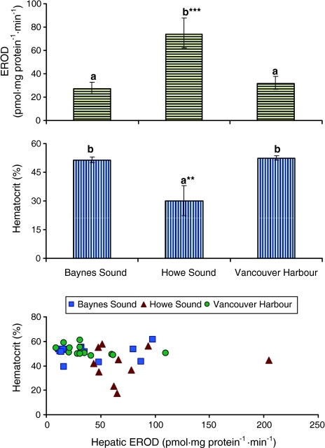 The geographic differences in hepatic EROD activity and hematocrit values of adult male surf scoters collected from three locations in the Strait of Georgia, BC, 1998–2001. The significant association between EROD and hematocrit values is expressed in the bottom graph (see results text for r and p-values). Bars with different letters above them represent significantly different least squares mean values. Error bars represent upper and lower confidence intervals. ** p < 0.01; *** p < 0.001