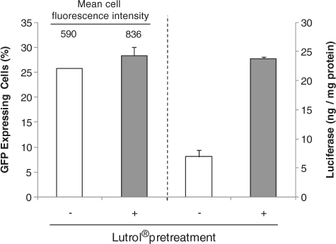 Effect of block copolymers on the percentage of transfected cells. C2C12 cells were transfected after Lutrol® treatment (gray bars) or without Lutrol® treatment (white bars). Treated cells were incubated with Lutrol® diluted at optimized concentration in culture medium for 2 h before transfection. One µg of GFP or luciferase encoding plasmid was complexed with DOSP/DOPE at a charge ratio of ±4.GFP expressing cells were counted by flow cytometry and a luciferase gene expression assay was performed 24 h after transfection.