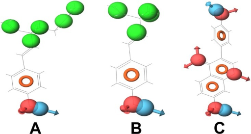 Compounds (with their pharmacophoric features) that target DNA polymerase.(A) Bakuchiol, (B) Corylifolin and (C) Diadzein. These compounds show similar pharmacophoric features.