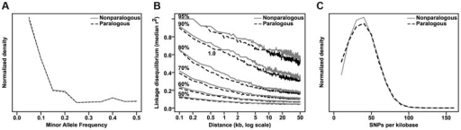Comparison of paralogous to nonparalogous genes.Maize paralogous genes (identified by Schnable & Freeling [52]) were examined for any differences from nonparalogous genes that might spuriously contribute to their enrichment in GWAS analyses. There are no strong differences in either minor allele frequency distribution (A) or linkage disequilibrium decay (B), and the slightly lower SNP density (C) (median 32.8 SNPs/kb versus 33.4 SNPs/kb for nonparalogous genes) would be expected to actually decrease the probability of hitting paralogous genes, albeit by a very small amount.