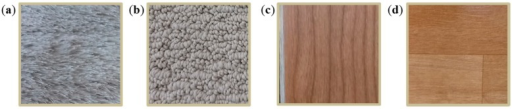 Floor materials used in this work: (a) texture-style carpet; (b) loop-style carpet; (c) laminate floor; and (d) vinyl sheet.