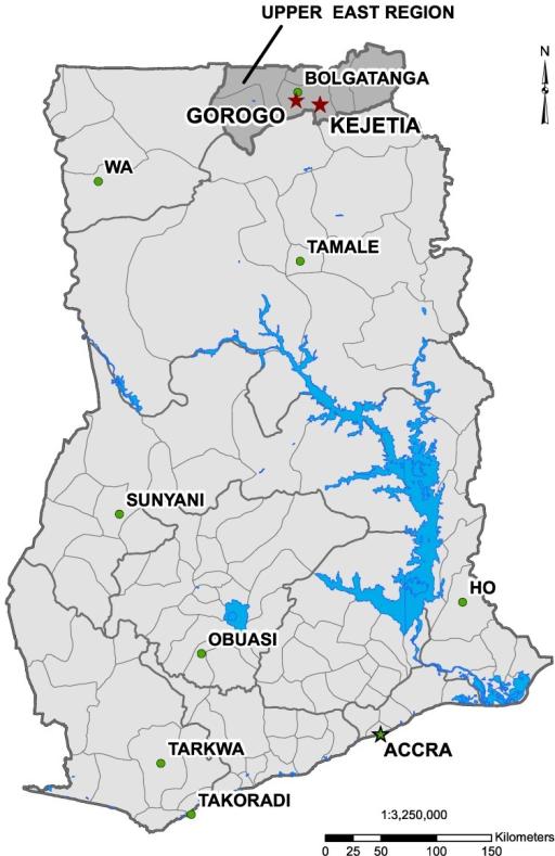 Map of Ghana indicating Kejetia and Gorogo two red sta Openi