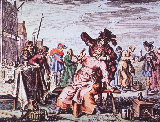 <p>A woman, sitting on a bench in the market place, is having a tooth extracted; in the background, various market-day activities are being conducted.</p>