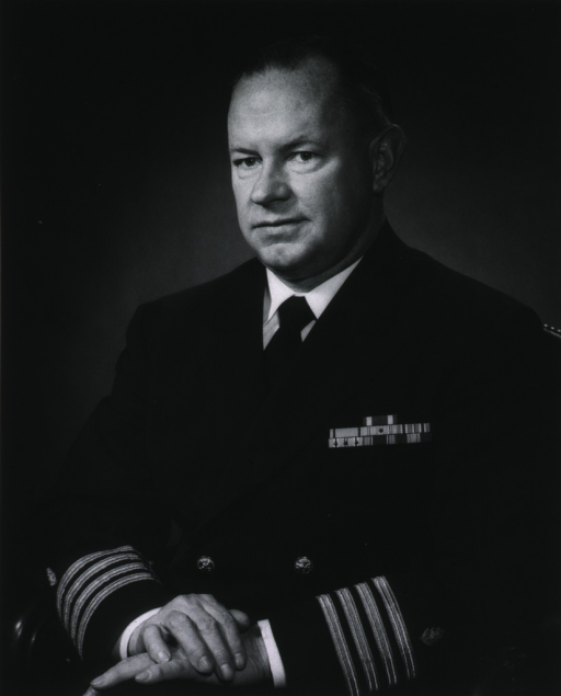 <p>Half-length, seated, left pose, hands folded, wearing uniform (Captain MC, USN).</p>