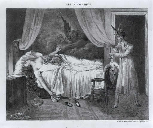<p>A woman lying in bed is visited by a nightmare in the form of demons; a small dog is curled up on her abdomen.</p>