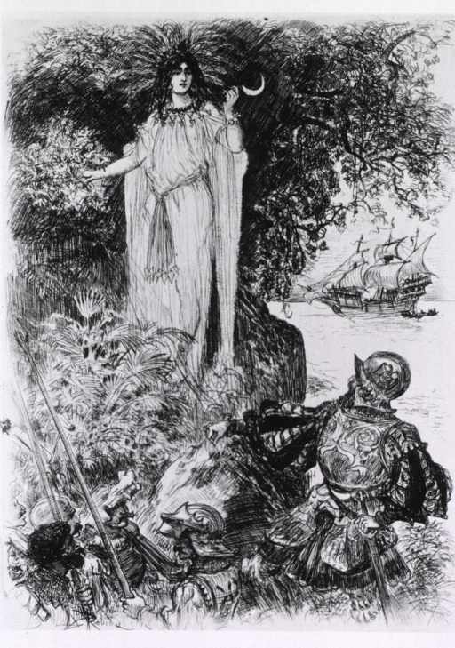 <p>A woman wearing a diaphanous robe and holding a sickle is standing next to a coca plant offering to make cuttings for advancing Spanish explorers; a ship is in the harbor in the background.</p>