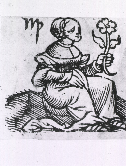 <p>A woman seated, right pose, full length, holding a flower in her left hand.</p>