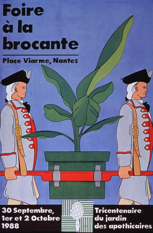 <p>Predominantly light blue poster with black and white lettering.  Title in upper left corner.  Visual image is an illustration of two men in tri-corner hats, wigs, and cutaway coats with several fasteners.  The men carry a large, potted plant with the aid of two rails.  Note at bottom of poster appears to announce the tricentennial of the &quot;Jardin des apothicaires&quot; in Nantes, a park apparently devoted to medicinal plants.</p>