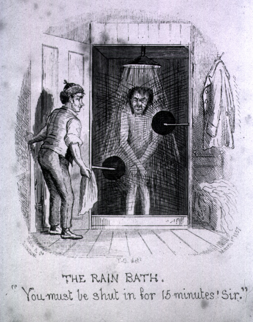 <p>Man at the water cure is standing under a shower; an attendant is holding a towel and closing the door to the shower.</p>