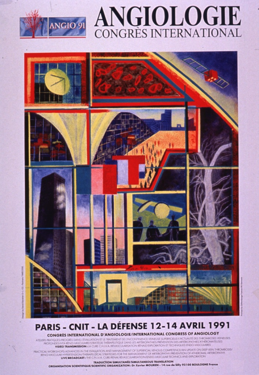 <p>Predominantly white poster with multicolor lettering.  Note in upper left corner, along with an illustration suggestive of an artery branching into many capillaries or a tree.  Title next to note.  Dominant visual image is a multicolor, collage-style illustration incorporating buildings, an operating room, red blood cells, and an artery and its capillaries.  Conference dates listed below illustration.  Workshop and video transmission information appears in both French and English at bottom of poster.</p>