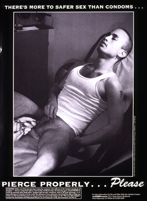 <p>Black and white poster illustrated with a photograph of a man, his eyes closed and reclining in a chair, naked below the waist and in the process of having his genitals pierced by another person using surgical scissors.  The address and telephone number of the Core Program are listed at the bottom.</p>
