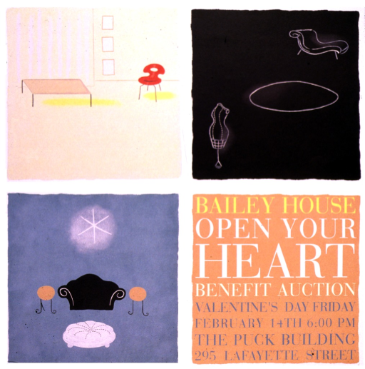 <p>The poster is divided into four squares.  The top left square has a light yellow background, and is of a room with a low coffee table and a modern, red chair.  The upper right square is black, and contains a dressmaker's dummy, an oval rug, and a chaise lounge.  The bottom left square is turquoise, and contains a black couch between round end tables, a large white hassock, and a glowing star figure over the couch.  The lower right square is tan, and contains the lettering.</p>