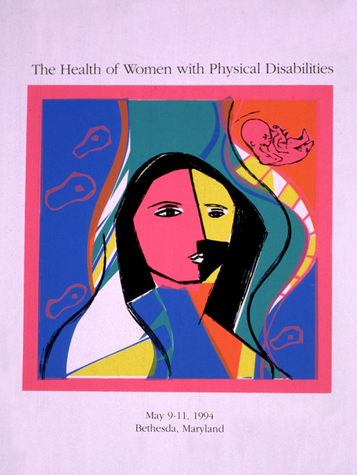 <p>Abstract picture of a woman's face in yellow, pink, and black.  The remainder of the poster is in orange, yellow, white, pink, blue, and black, showing cells and a fetus.</p>