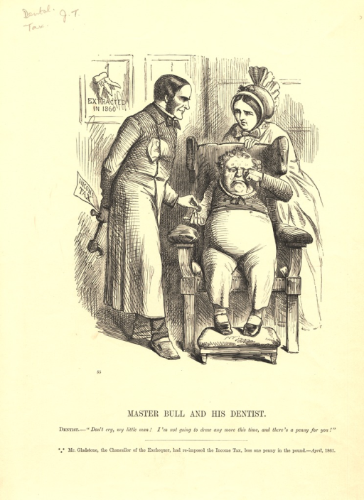 <p>Shows John Bull sitting crying in a dentist's chair, while Britannia, dressed as his mother, stands behind him, and the Chancellor of the Exchequer William E Gladstone. Gladstone, dressed as a dentist, hides from his patient a sharp instrument labelled 'INCOME TAX'. Giving John Bull a penny, the dentist reassures his patient that he will not 'draw any more this time'. The reference puns on the notion of the drawing of teeth and the drawing of money from an account.</p>