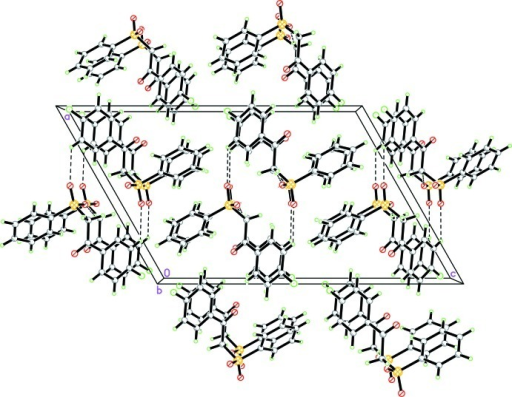 A crystal packing diagram of the title compound viewed along the b axis, showing molecular layers parallel to the ac plane. The C—H···O hydrogen bonds are shown by dashed lines.