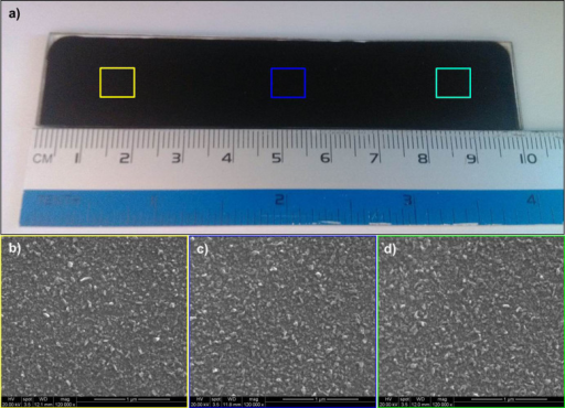 Scalable fabrication of the MoSe2–based counter electrode.(a) Digital photo of the as-prepared counter electrode with area of 100 mm × 10 mm; (b−d) SEM images of the large-area counter electrodes from different sites. Photograph in part (a) courtesy of Bokai Zhang.