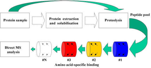 "Combinatorial peptidomics. Sample solubilisation and protein purification are not necessary, since proteolyric digection may be carried on native cells/tissues (dashed lines). The amino acid filtering (depletion) step may be repeated using combinations of up to 6 amino acid ""filters"", i.e. chemically reactive surfaces (e.g. derivatised beads) able to covalently cross-link particular amino-acids. Chemical depletion reduces the complexity of the peptide pool to a sufficient degree to make it compatible with direct MS detection."