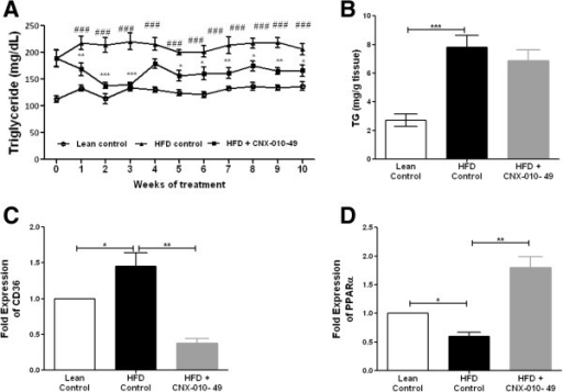 Effect of CNX-010-49 on lipid profile in DIO mice. Fasting serum TG levels (A) were monitored weekly. After the study termination, liver TG (B) was analyzed. Data in all panels are mean ± SEM (n = 8 mice/group). mRNA expression levels of liver CD36 and PPARα (C & D) were measured as mentioned in Methods. Statistical comparison was conducted by One-way ANOVA followed by Dunnett's test or repeated measures ANOVA followed by Bonferroni correction (A) (n = 8 mice/group). Two-way repeated measures ANOVA indicated that CNX-010-49 significantly reduced the Fasting serum TG (p = 0.001; F = 1.865; Df = 20). (# - significance of HFD control against lean control, *- significance of CNX-010-49 treatment against HFD control) (*P < 0.05, **P < 0.01 and ***P < 0.001).