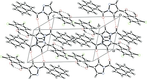 A crystal packing view of the title compound. Intra­molecular O—H⋯O and inter­molecular C—H⋯O hydrogen bonds are represented by black and red dashed lines, respectively.