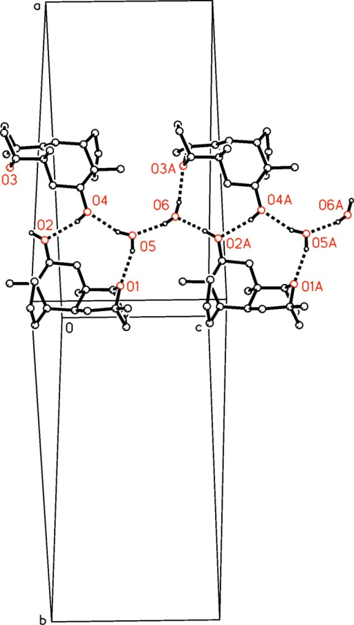 : Unit cell showing the 1-D network of molecules linked by intermolecular O—H ···O hydrogen bonds along crystallographic c axis. Hydrogen bonds between the C17H28O2 molecules, between C17H28O2 and water molecules and between water molecules are shown as dotted lines. H atoms not involved are omitted.