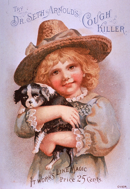 <p>This product contained morphine.  Visual motif:  Shows a little girl holding a small dog.</p>
