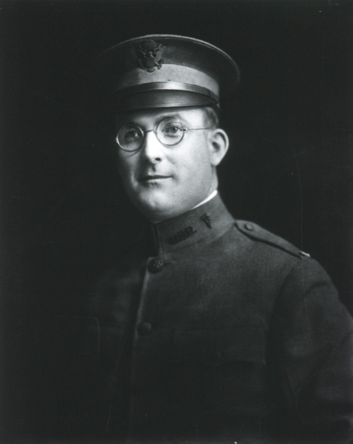 <p>Head and shoulders, left pose, full face; wearing uniform and cap (Lieut.); wearing glasses.</p>