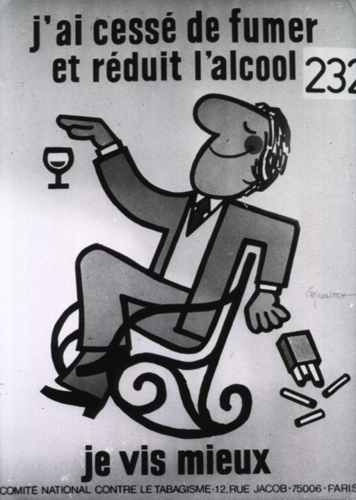 <p>Poster concerned with the harmful effects on health from the abuse of alcohol and tobacco. Cartoon of a man sitting in a chair, he has a big smile on his face; cigarettes and a wine glass are pictured, but he is not touching either of them.</p>