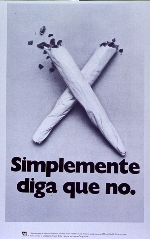 <p>White poster with photo image of two marijuana cigarettes crossed to form an &quot;x&quot;.  Title in bold black print under cigarettes.  Logo for the Ad Council and supporting agencies at bottom of poster.</p>