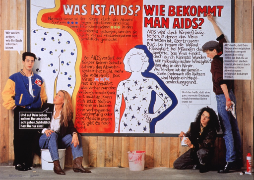 <p>Multicolor poster.  Title at top of poster.  Image combines color photo reproductions and illustrations.  Two male-female teen couples stand and sit in front of a fence or wall.  The wall bears the title and additional text explaining AIDS and how AIDS is transmitted.  Left side of the wall features a partial outline of a human body with a symbolic representation of a healthy immune system.  Center of wall features a larger body outline in which the immune system symbols are crossed out.  Teens also have text balloons in which they state the importance of knowing how to protect themselves and talk about the nature of AIDS.  Publisher information in lower left corner.</p>