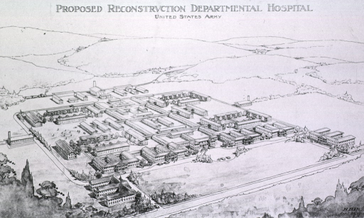 <p>Aerial view of the plan for reconstructing the departmental hospital.</p>