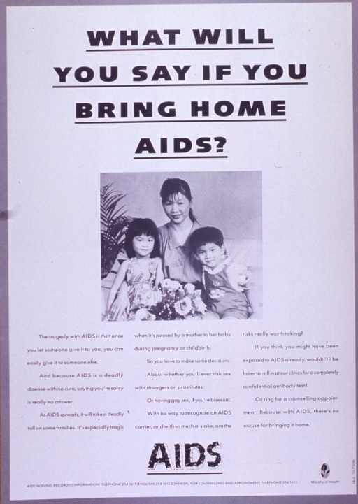 <p>Predominantly white poster with black lettering.  Title at top of poster.  Visual image is a b&amp;w photo reproduction featuring a mother and her two young children.  Caption below photo stresses the ease with which AIDS is transmitted and urges thinking carefully about high-risk sex.  Note below caption.  Publisher information in lower right corner.</p>