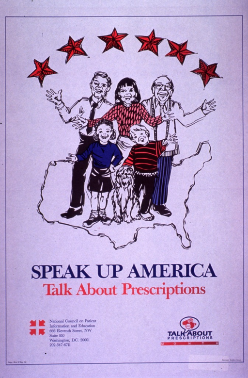<p>Predominantly white poster with blue and red lettering.  Visual image is an illustration in which two men, a woman, a boy, a girl, and a dog are standing on a map of the United States.  Six stars form a semi-circle above their heads.  Title below illustration.  Publisher information in lower left corner.  Note in lower right corner.</p>