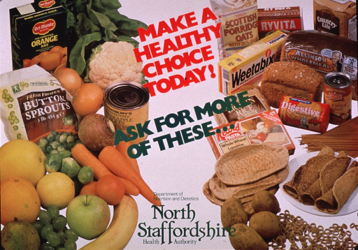 <p>Multicolor poster.  Title near top of poster; caption below title.  Visual image is a color photo reproduction featuring a wide variety of fruits, vegetables, and whole grain products.  Publisher information at bottom of poster.</p>