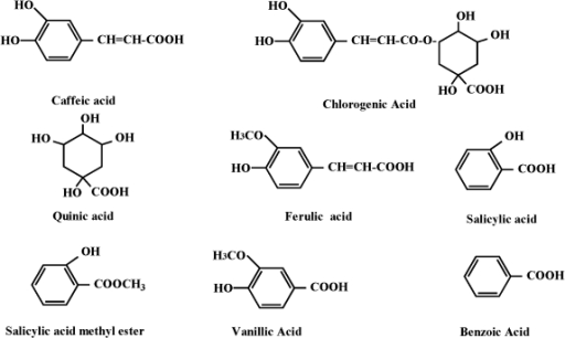 Chemical structures of caffeic acid and its related compounds.